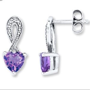 Amethyst Heart Earrings Sterling Silver KayJewlers